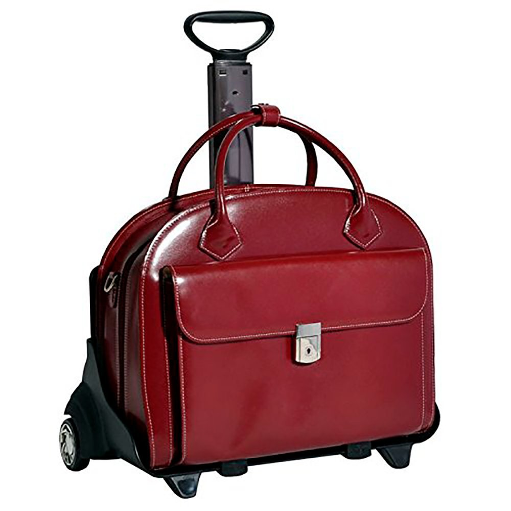 McKlein Women's Leather Detachable Wheeled Case_Red_18x9x14.5 by McKlein