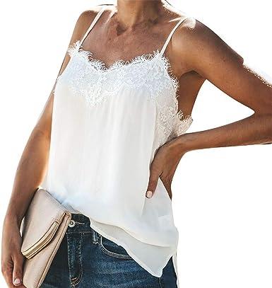 FELZ Camiseta de Tirantes Mujer, Blusa sin Mangas de Verano con Cuello en v Tops de Moda de Mujer Camiseta de Tirantes para Mujer Sexy Chaleco Flojo Ocasional del Color sólido: Amazon.es: