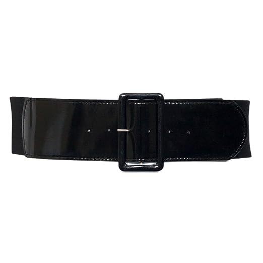 034a6f1b1c322 eVogues Plus Size Wide Patent Leather Fashion Belt Black - One Size Plus