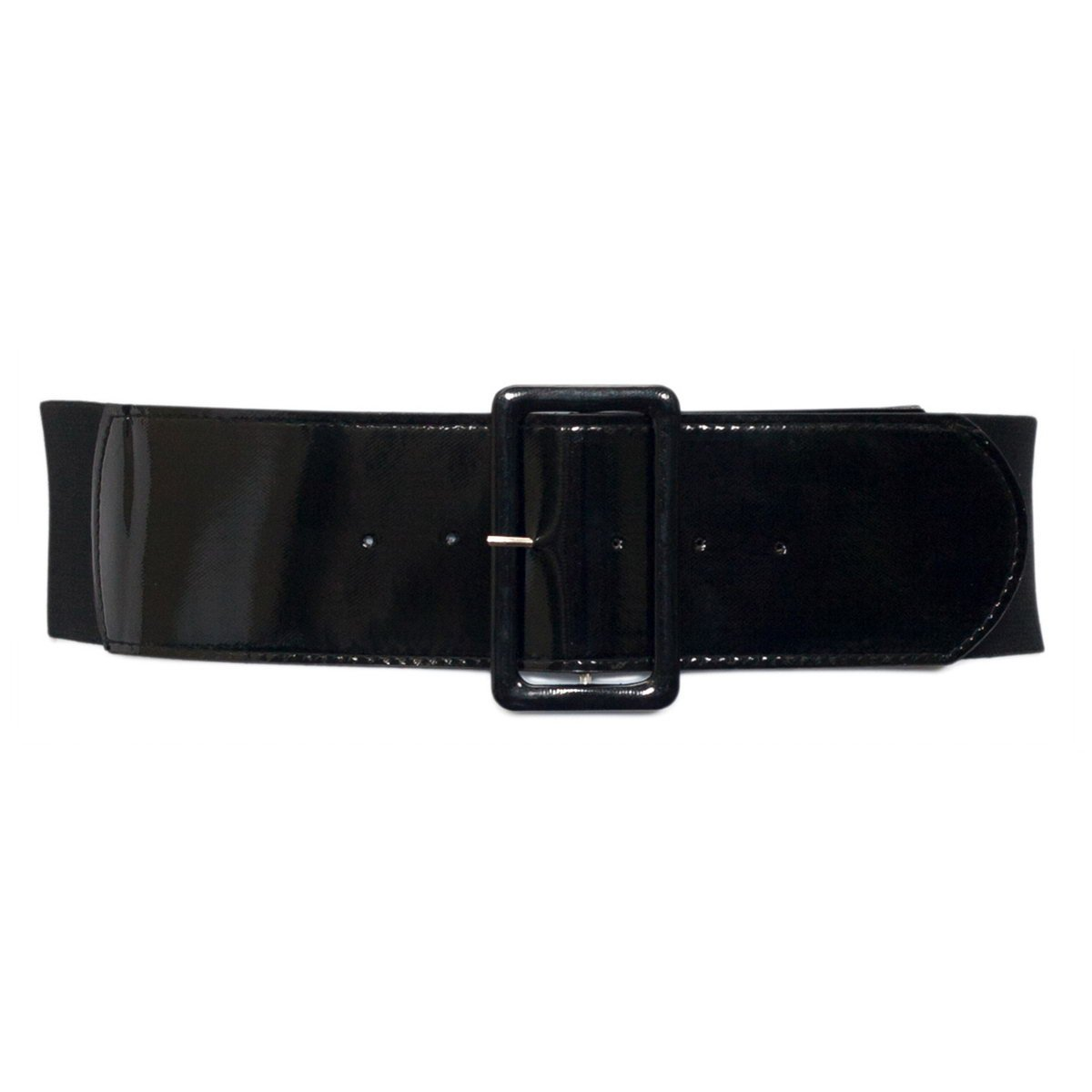 eVogues Women's Wide Patent Leather Fashion Belt Black - One Size Junior