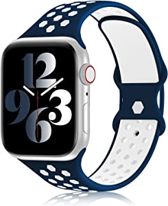 YAXIN Sports Band Compatible with Apple Watch Bands 38MM 40MM 42MM 44MM Women and Men,Breathable Soft Silicone Replacement Strap Double-color Air Holes Bands for iWatch Series 6 5 4 3 2 7 SE