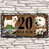 Custom West Highland Terrier Westie Dog House Slate Personalised Pet Name Number Sign - 30cm x 15cm by Krafty Gifts