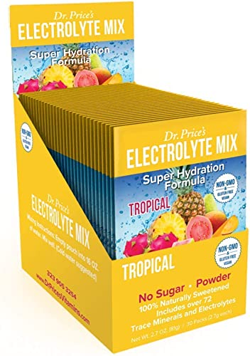 Electrolyte Mix Super Hydration Formula Trace Minerals New Tropical Flavor 30 Powder Packets Sports Drink Mix Dr. Price s Vitamins No Sugar, Non-GMO, Gluten Free Vegan