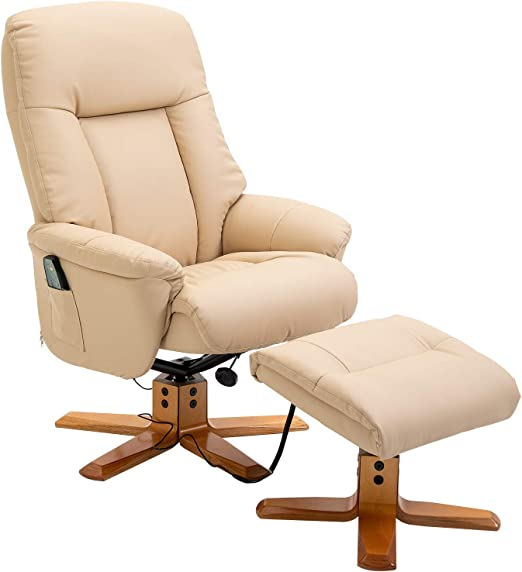 HOMCOM 10 Point Massage Sofa Armchair Chair PU Leather WFootrest Stool Heat Recliner Beige