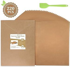220 Pcs Parchment Paper Sheets 12 x 16 Inches, Unbleached Precut Parchment Paper for Baking with An Oil Scraper Bonus- Will Not Curl, Stick, Burn & Convenient Cardboard Envelope Packaging