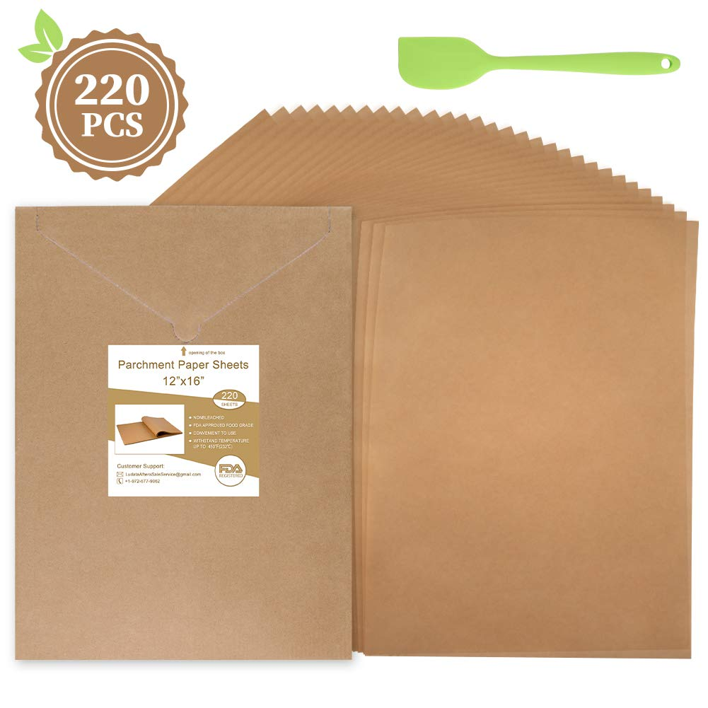 220 Pcs Parchment Paper Sheets 12 x 16 Inches, Unbleached Precut Parchment Paper for Baking with An Oil Scraper Bonus- Will Not Curl, Stick, Burn & Convenient Cardboard Envelope Packaging by cyrico
