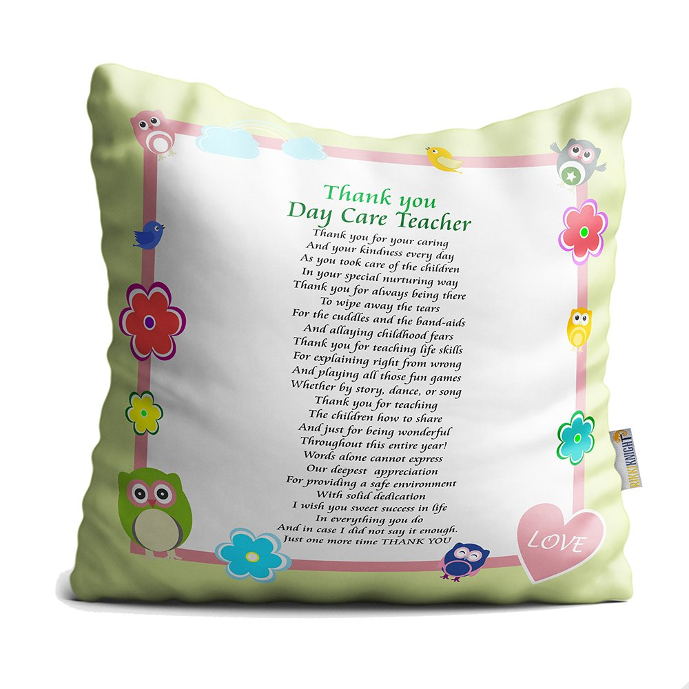 Rikki Knight Thank You Day Care Teacher Poem Microfiber Throw Décor Pillow Cushion 16'' Square (Insert Included)