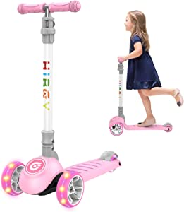 Hiboy Q2 Scooter for Kids, 3 Wheel Toddler Scooter, Kick Scooter for Kids, Height Adjustable & Flashing LED Wheels, Kids Scooters for Boys & Girls, Suitable for Age 2-10