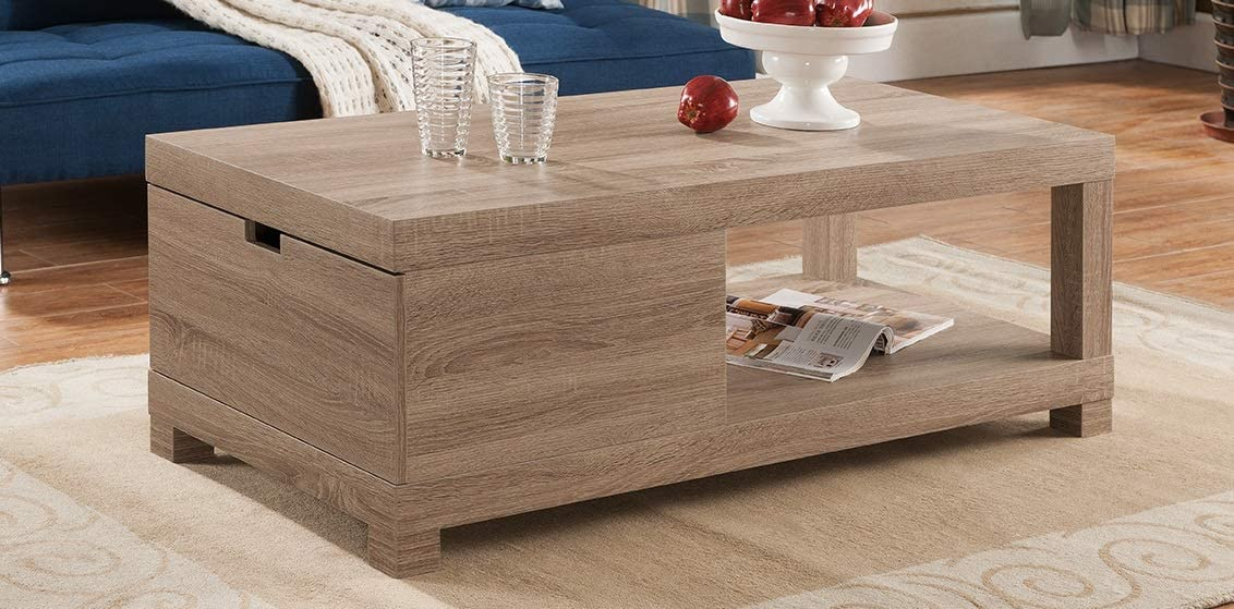 Major-Q 16 H Modern Contemporary Style Coffee Table Distressed Wood Finish with Open Shelve and a Drawer,