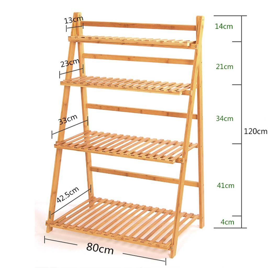 AIDELAI Bamboo and wood life flower racks bamboo and bamboo indoor and outdoor multi-storey flower Patio Garden Pergolas ( Size : 80120 )