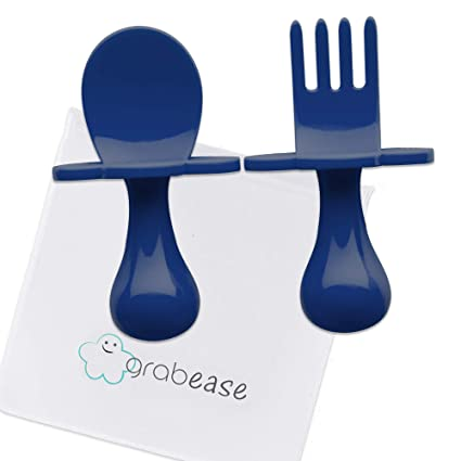 Blush grabease First Self Feeding Utensil Set of Spoon and Fork for Toddler and Baby to-go Pouch. BPA Free
