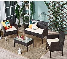 Conjunto mesa de cristal + 3 sillas de ratán pvc moderno – impermeable al agua – Resistente a los rayos UV para jardín, balcón, terraza, Marrón: Amazon.es: Jardín
