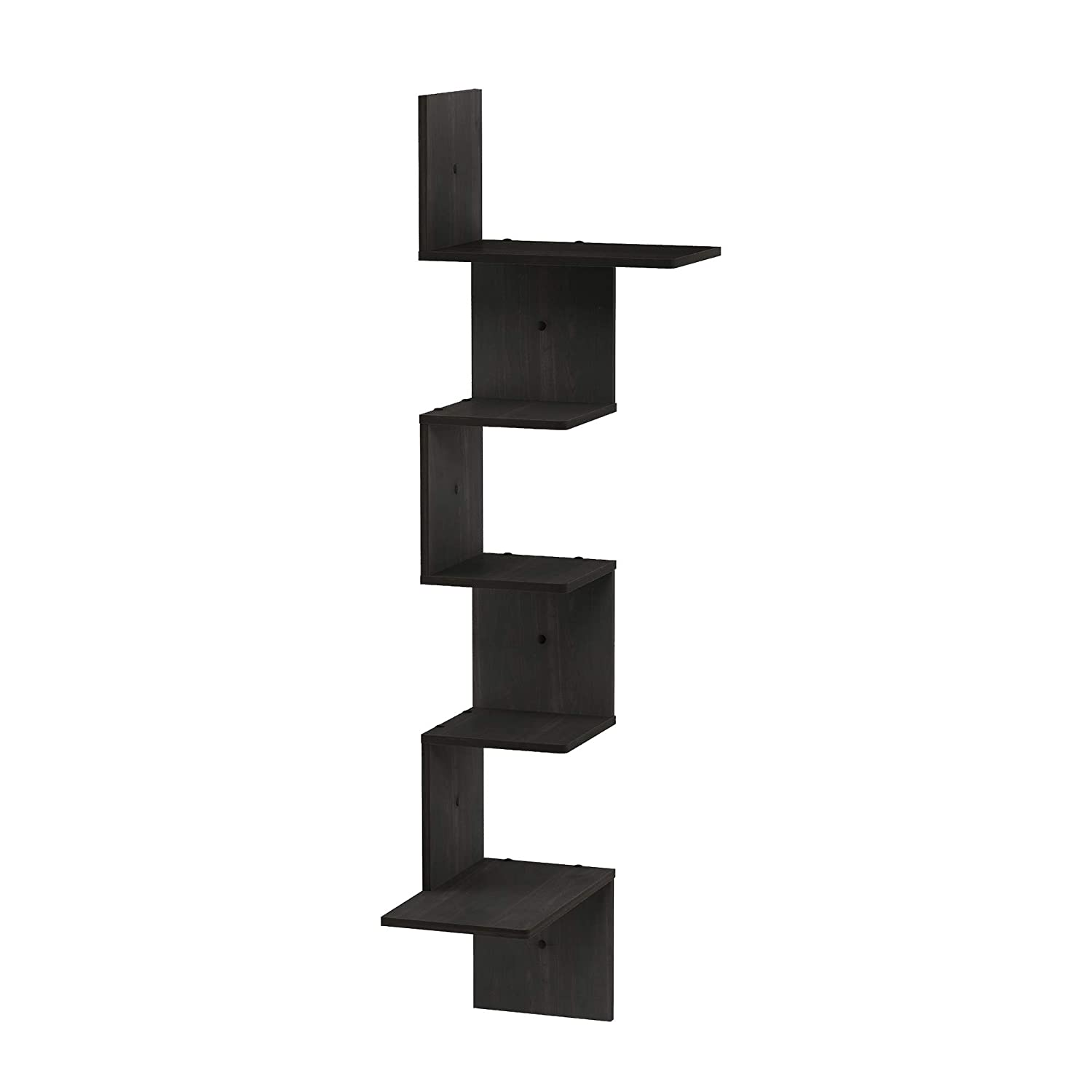 Furinno FR18046EX Rossi Wall Mounted Shelves, 5-Tier Rectangle, Espresso/Black