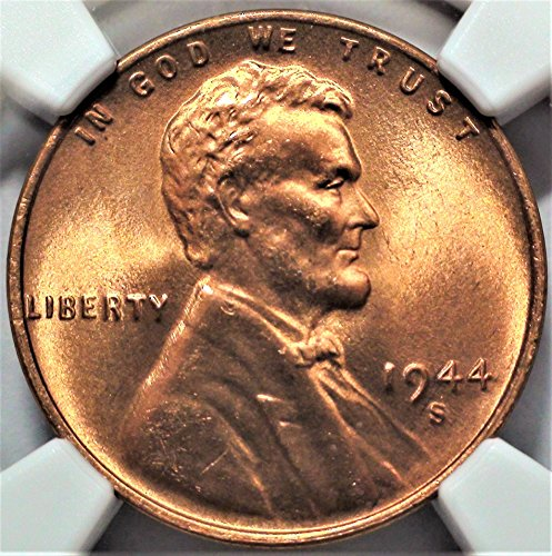 - 1944 S United States Lincoln Wheat Penny Old American Coin Cent MS-66 RD NGC