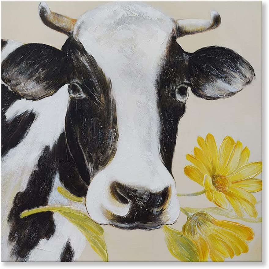 SEVEN WALL ARTS Cattle Cow with Yellow Daisy Flower Wall Art Rustic Funny Farm Cow Animal Decor Black Cattle Dairy Picture Artwork for Living Room Bedroom Kitchen Room Home Decor 32x32 Inch