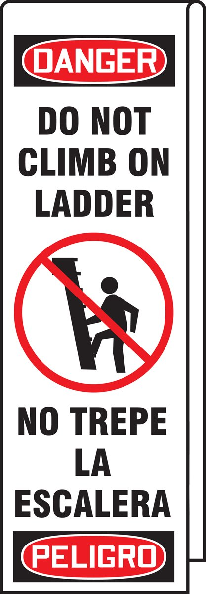 """Accuform KLB761 Ladder Shield Wrap, Legend""""Danger Do Not Climb On Ladder"""" (Spanish Bilingual), 10-Ounce Reinforced Vinyl with Metal Grommets, 87"""" Length x 13"""" Width, Includes Padlock with Key 61qzMWd4RmL"""