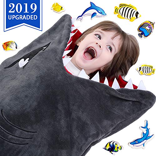 (CozyBomB Shark Tails Animal Blanket for Kids - Cozy Smooth One Piece Design - Durable Seamless Snuggle Plush Throw Enlarged Size Gray Sleeping Bag with Blankie Fun Fin - Boys and Girls)
