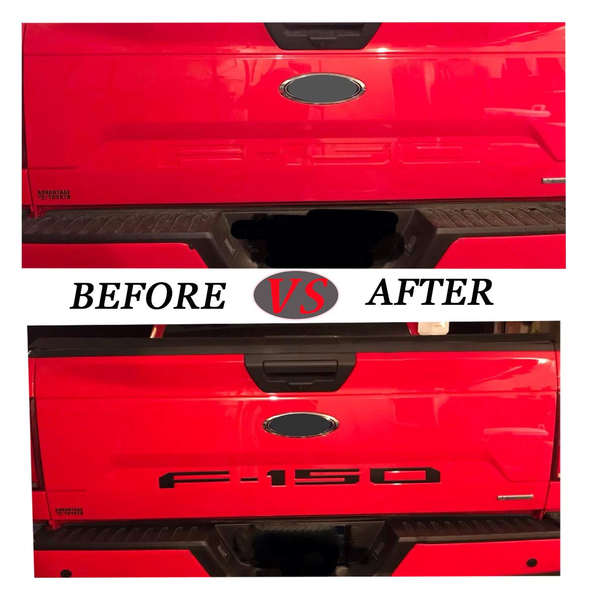 ARITA Tailgate Insert Letters for Ford F150 2018-2019 Gloss Red with Black Border 3M Adhesive /& 3D Raised Metal Tailgate Decal Letters