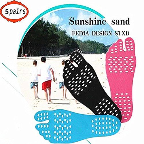 Design Adhesives - KENROLL Barefoot Adhesive Foot Pad Invisible Shoes, Waterproof Anti-Slip Design for Pool Beach Insole Spa Park Hypoallergenic Adhesive (XL:Length 10.24 inch/Adult 10-11 US, 5 Pairs-Light Blue)