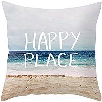 "YANGYULU Happy Place Sea Beach Cotton Linen Home Decorative Throw Pillow Case Sofa Cushion Cover 18"" x 18"""