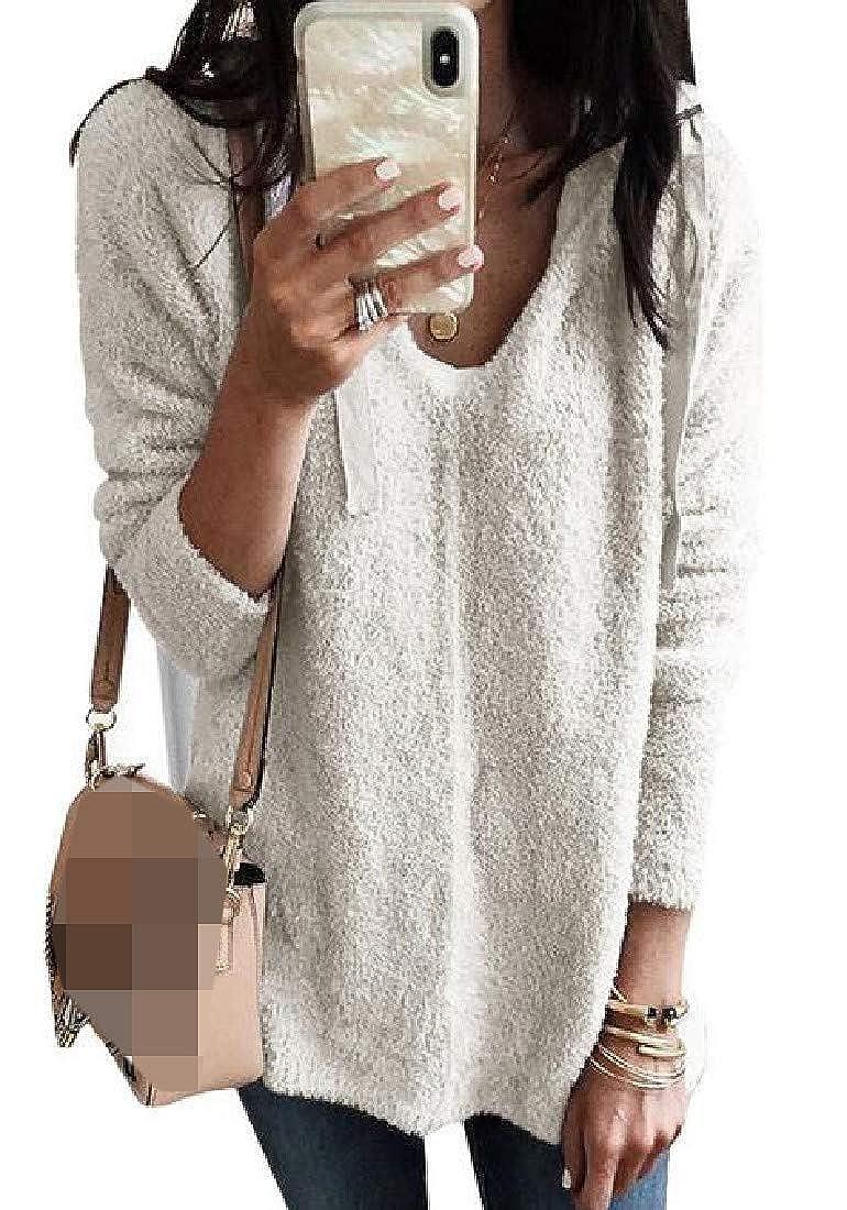 Hajotrawa Womens Casual Pullover Long Sleeve Deep V Neck Plush Hoodies Sweatshirts