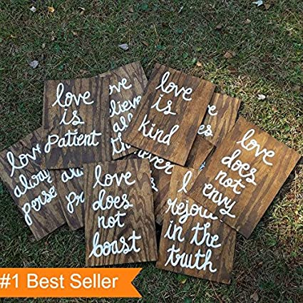 Wooden Wedding Signs.Amazon Com Set Of 10 Wedding Aisle Signs 1 Corinthians 13