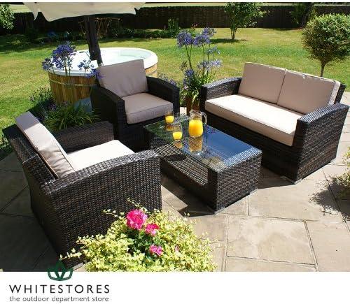 Muebles de jardín de mimbre – Algarve respaldo alto ratán jardín sofá conjunto – marrón: Amazon.es: Jardín