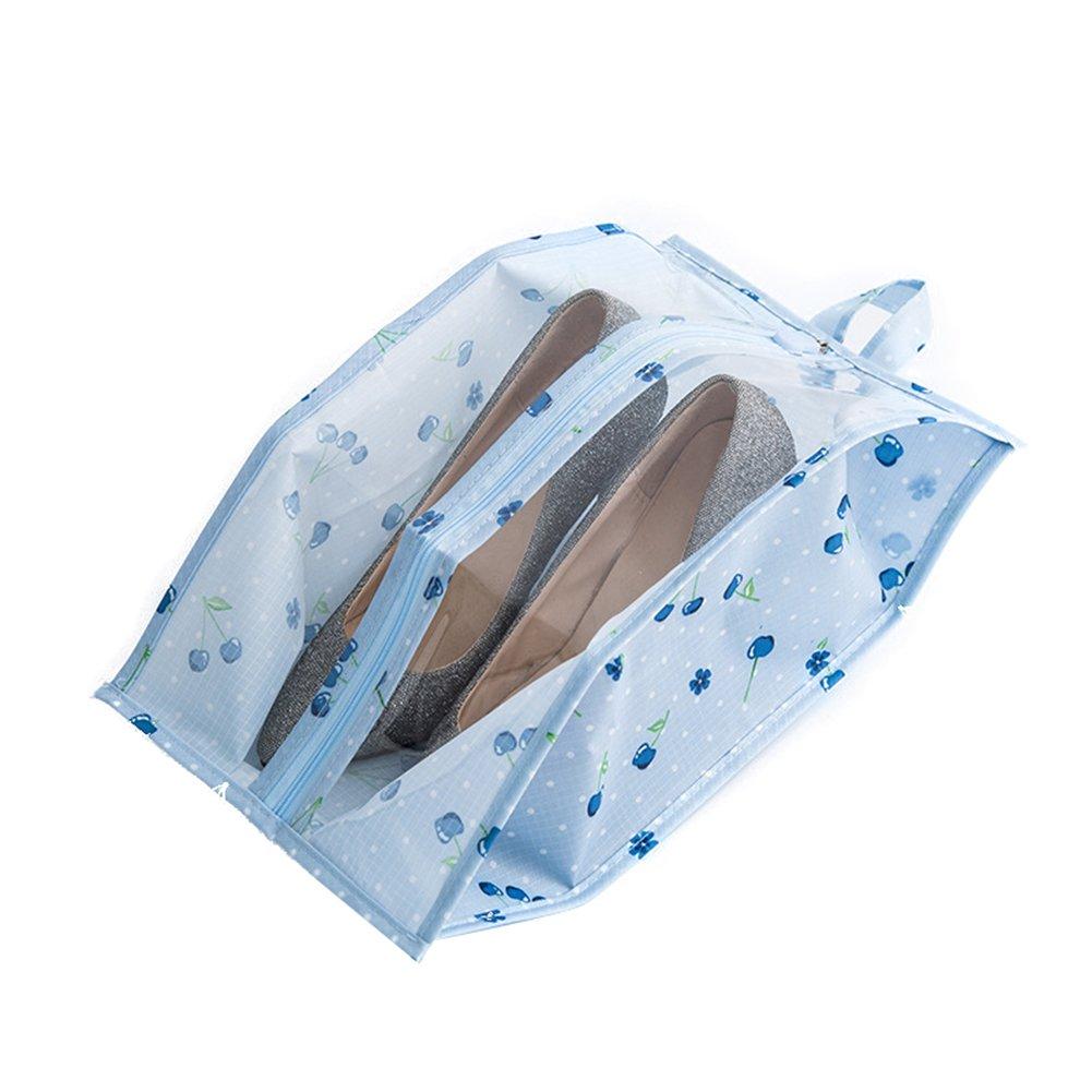 yamalansクリアウィンドウ旅行靴洗濯可能防塵ファスナー付きポータブルストレージバッグポーチ S SC25AM063YSL3EBK9214ZW B078NPYCDK Blue Cherry*