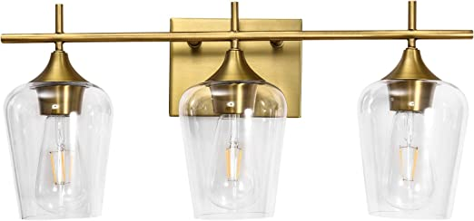 Vanity Lights Fixtures, Zicbol 3 Light Bathroom Light, Brass Gold Wall Light with Clear Glass Shade, Modern Bathroom Wall Sconce Lighting for Bath, Living Room, Bedroom, Stairs, Gallery, Restaurant