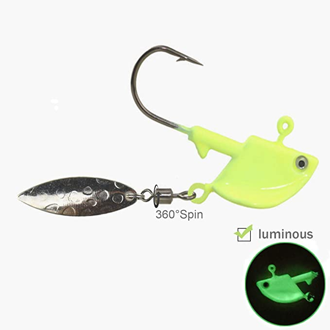 QualyQualy Glow Fishing Jigs with Spoons Spinner Willow Blades 1//8oz 1//4oz 3//8oz 1//2oz Glow Luminous Underspins Fishing Jigs for Bass 10Pcs