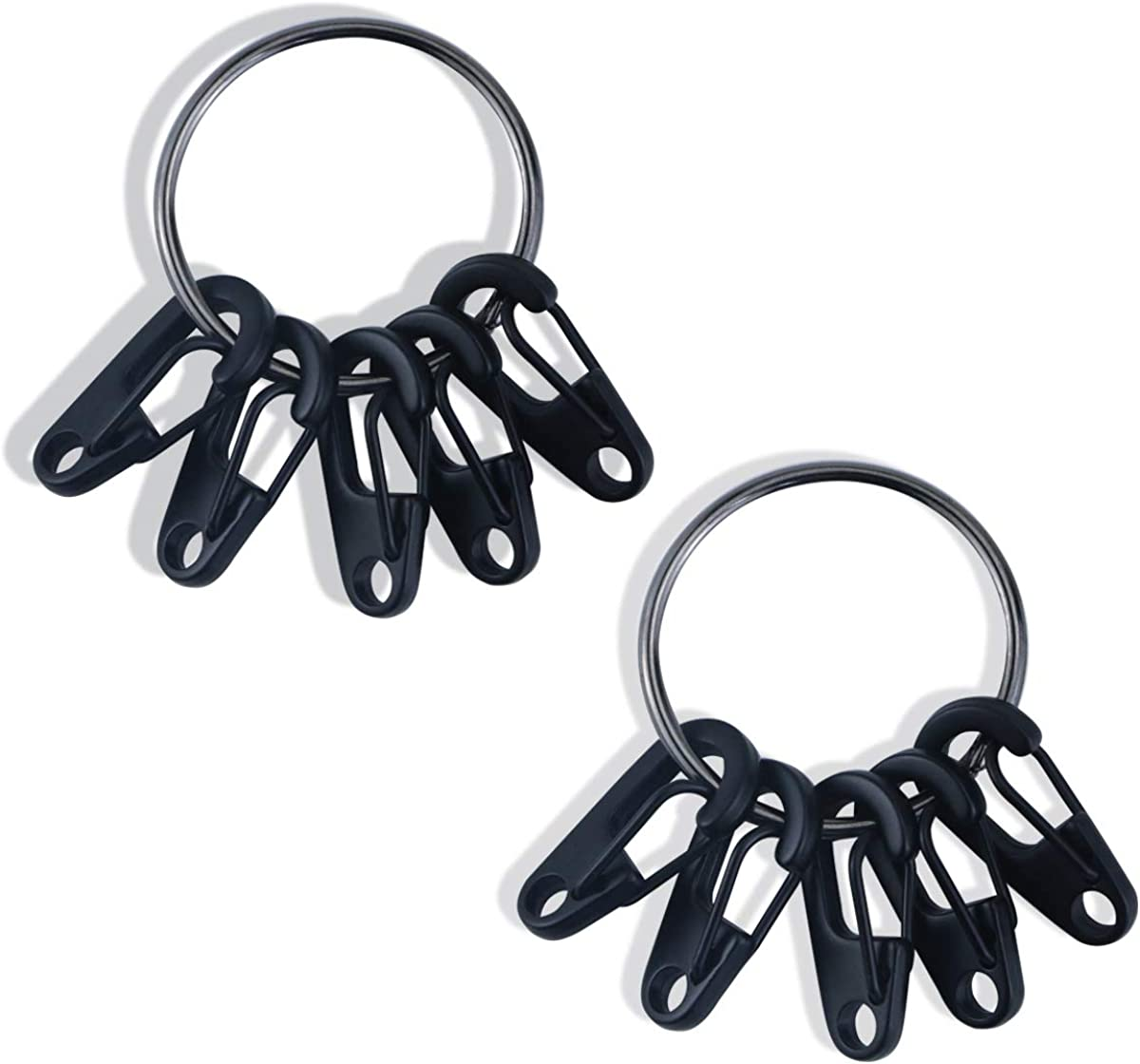 YG_Oline 2 Sets Mini Alloy Black Carabiner Keychain Clip with Key Ring, Tiny Spring Hook Snap for Backpack, Bottle, Camping, Car Key, Dog Tag Using Keychains Accessories