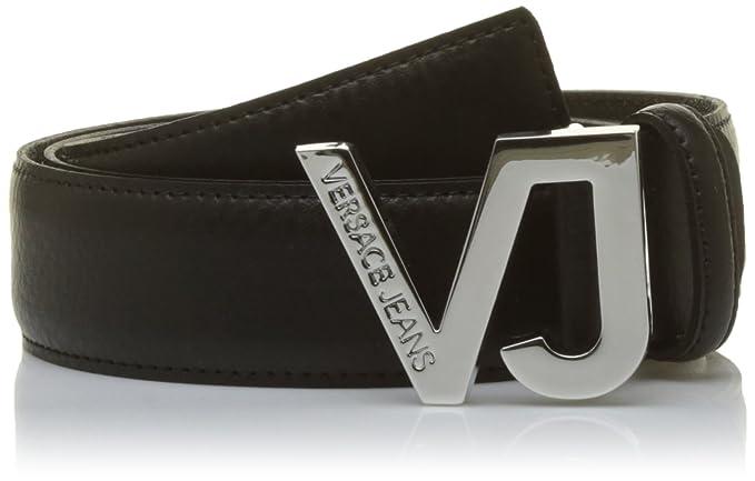 Amazon.com  Versace Jeans Linea Plain Black VJ Buckle Leather Belt ... 45fda295b4c