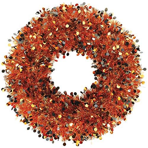 Amscan 242384 Orange & Black Halloween Tinsel Wreath -
