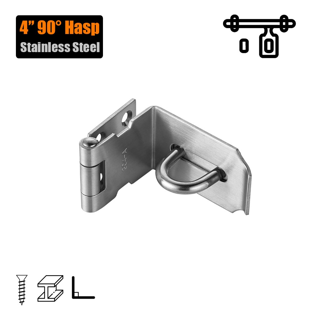 JQK Door Hasp Latch 90 Degree, Stainless Steel Safety Angle Locking Latch for Push / Sliding / Barn Door, 1.5mm Thickness Satin Nickel, 4 Inch
