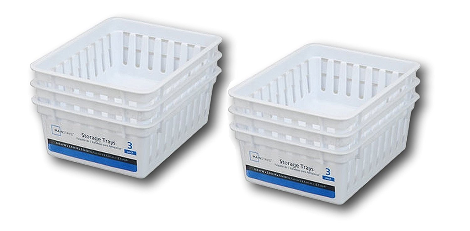Basic Square Mini Bin Storage Trays - White - 6pk by Mainstay