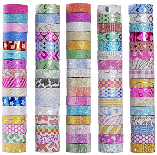 80 Rolls Glitter Washi Masking Tape Set,Great for DIY Decor Scrapbooking Sticker Masking Paper Decoration Tape Adhesive School Supplies