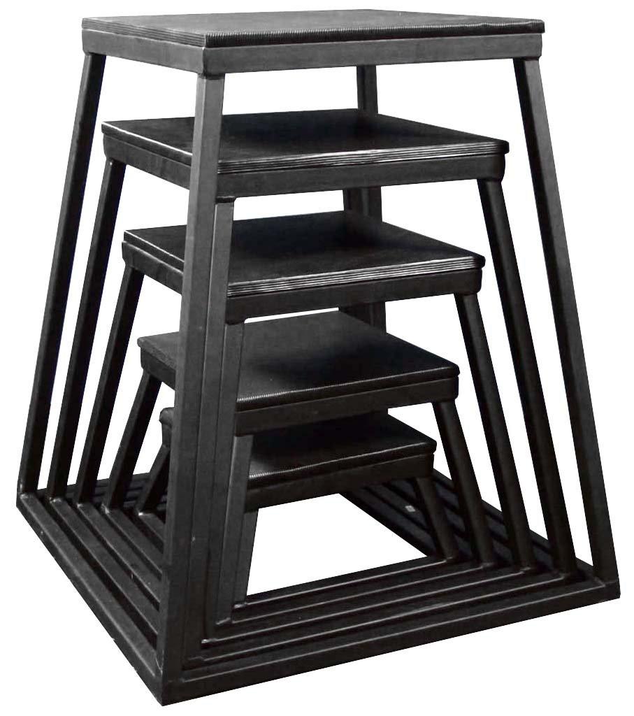 Ader Plyometric Platform Box 5 Pcs Set- 6'', 12'', 18'', 24'', 30'' Black