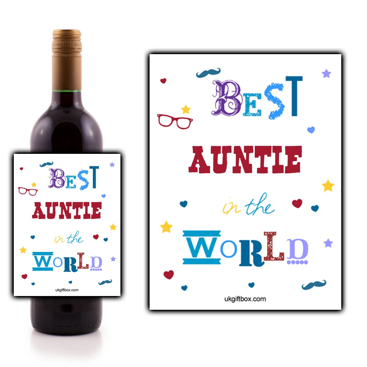 Best Auntie in the World Wine Bottle Label - perfect for adding that special touch to your auntie's favourite wine! ukgiftbox