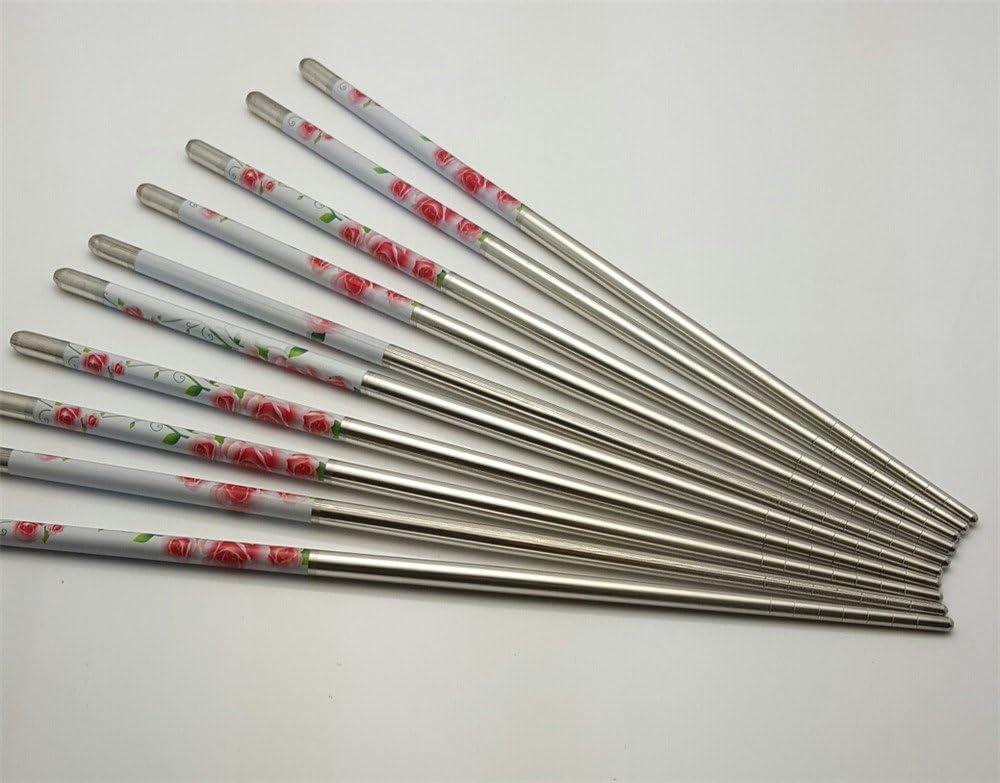 10 Pcs (5 Pairs) Rose Design Silver Stainless Steel Chopsticks
