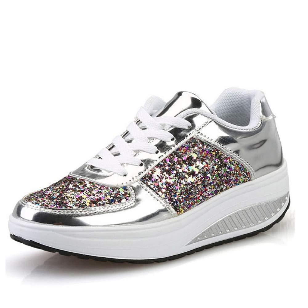 GUNAINDMX Damens 's Vulcanize Schuhe Schnürschuhe Wedges Plateauschuhe Mischfarben Lady Casual Turnschuhe Herbst Gold