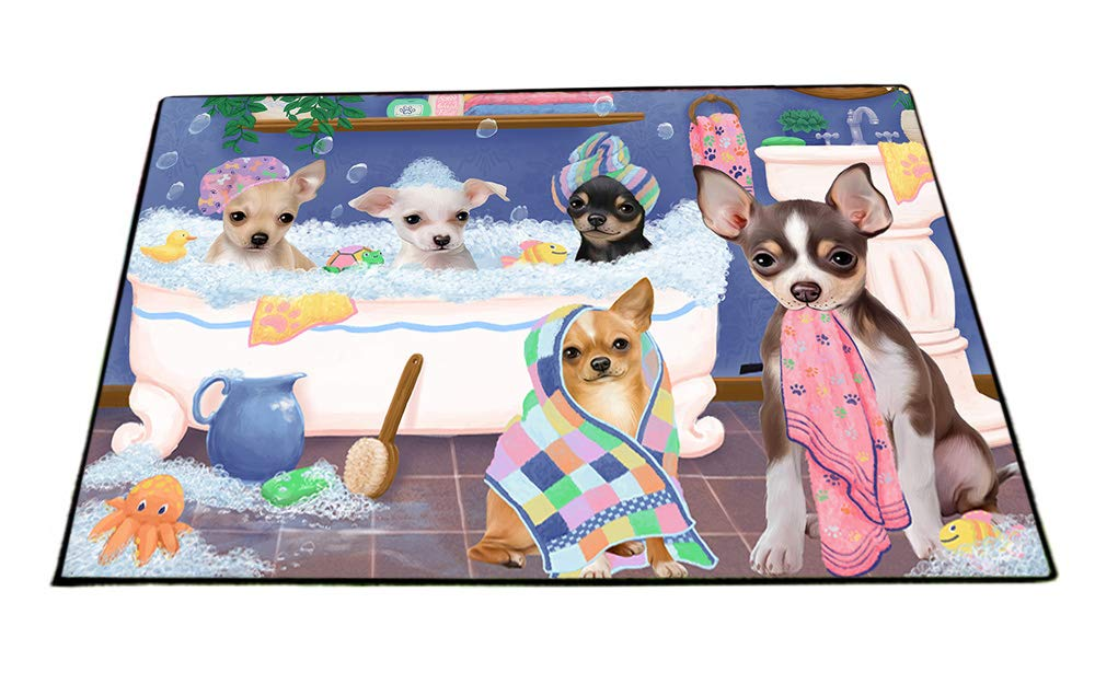 Rub A Dub Dogs In A Tub Chihuahuas Dog Floormat FLMS53523 (24x36) by Doggie of the Day