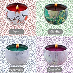Scented Candles Gift Set - Lavender, Rose, Tea Tre