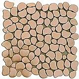 Stainless Steel Metal Copper Color Pebble Mosaic Tile for Kitchen Backsplash (10 Sheets)