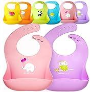 Single Set of 2 Waterproof Silicone Baby Bib Light Weight Comfortable Easy Wipe(Pink/Purple)