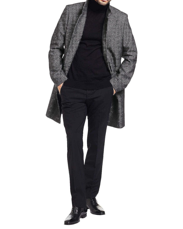 3f223286027 Amazon.com  Hugo Boss Hugo Mens C-Sintrax Band Collar Coat 46R Dark Grey  Overcoat  Clothing