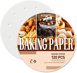 120 Pcs Air Fryer Liner, Bamboo Steamer Liners Round Perforated Parchment Steamer Paper Non-stick Steamer Mat Perfect for Air Fryers/Baking/Cooking/Steaming (8 IN)