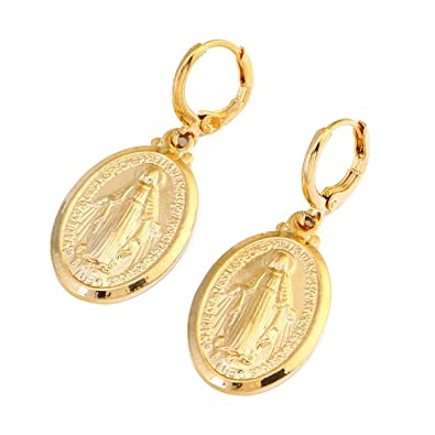 Amazon.com  Gold Color Our Lady Women Goddess Jewelry Wholesale Cross  Virgin Mary Pendant Necklaces (Gold Earrings)  Home   Kitchen 44072354ce