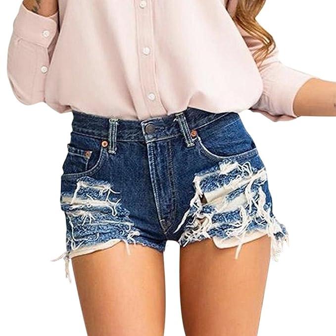 Damen High Waist Ripped Shorts Jeans Hotpants Denim Kurze Hosen Freizeithose