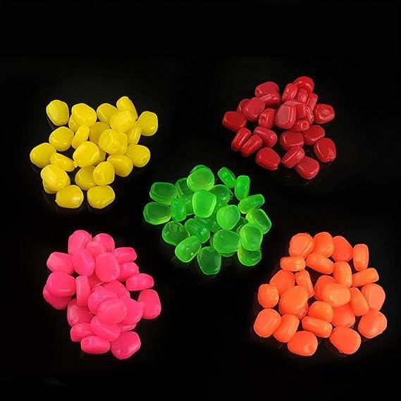 LIMMC 100 unids//Bolsa 5 Colores cebos de ma/íz Artificial de Goma Suave se/ñuelo de Sabor a ma/íz perfumado Flotante para Accesorios de Pesca de Carpa