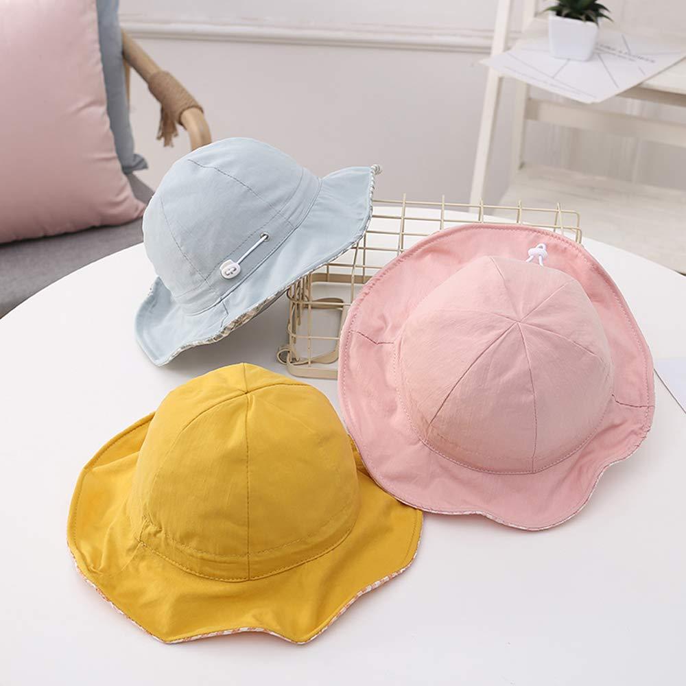 Sombrero Beb/é Ni/ña Verano del Sol Reversible con ala Ancha Pescador de Algod/ón Bucket Hat Ajustable al Aire Libre Rolcheleego